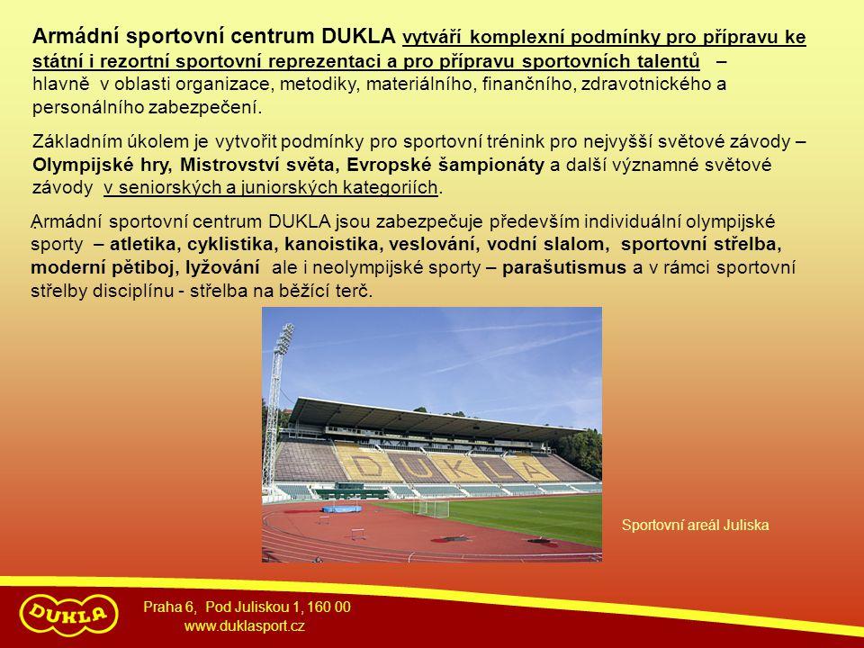 Praha 6, Pod Juliskou 1, 160 00 www.duklasport.cz Armádní sportovní centrum DUKLA vytváří komplexní podmínky pro přípravu ke státní i rezortní sportov