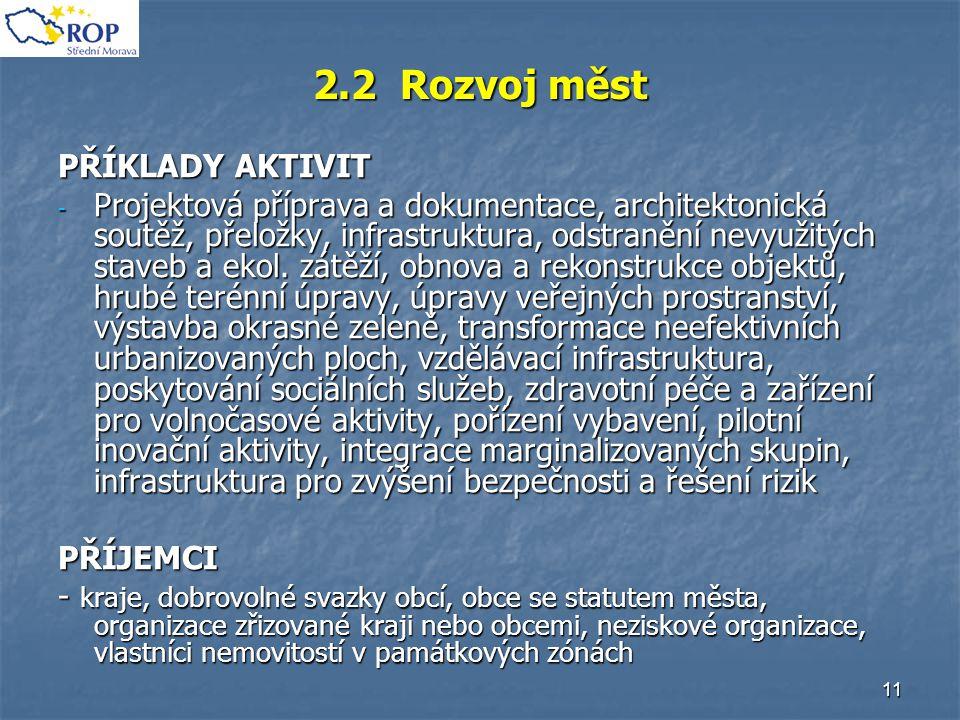 11 2.2 Rozvoj měst PŘÍKLADY AKTIVIT - Projektová příprava a dokumentace, architektonická soutěž, přeložky, infrastruktura, odstranění nevyužitých stav