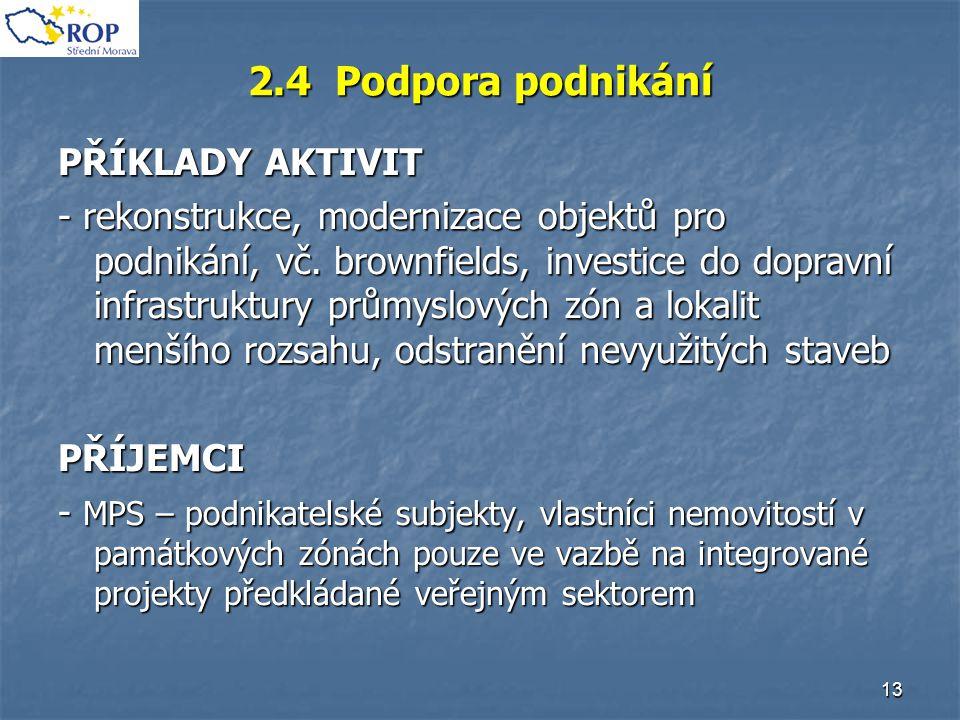 13 2.4 Podpora podnikání PŘÍKLADY AKTIVIT - rekonstrukce, modernizace objektů pro podnikání, vč. brownfields, investice do dopravní infrastruktury prů