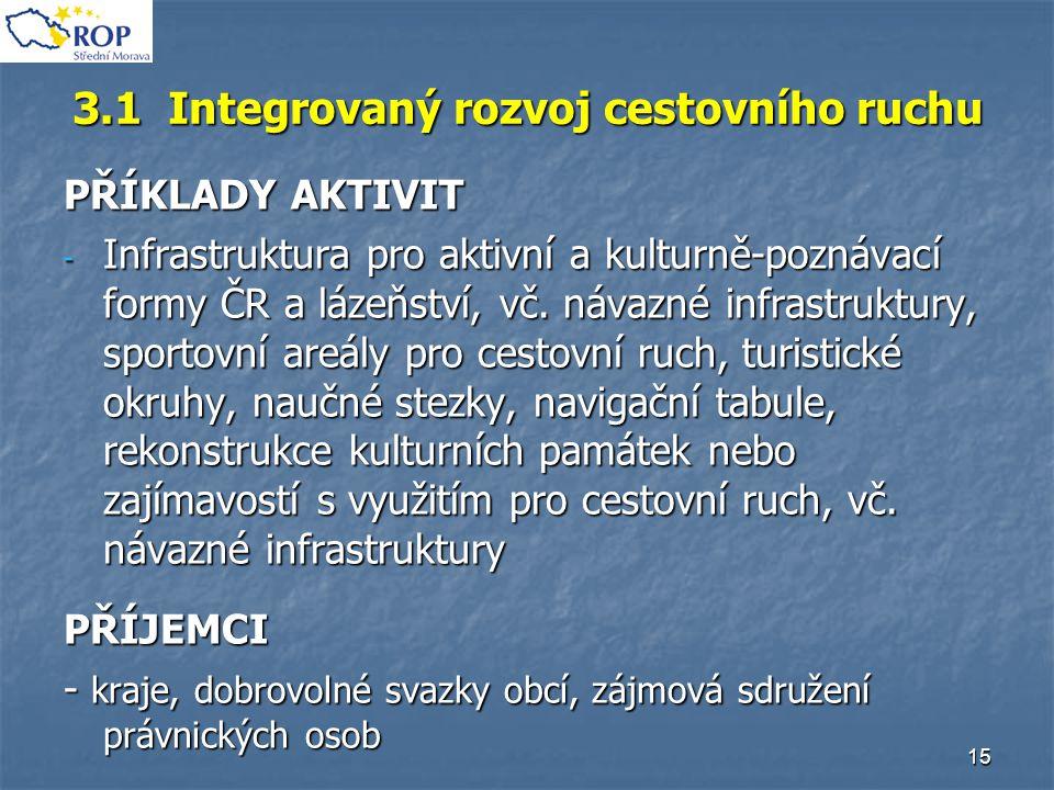 15 3.1 Integrovaný rozvoj cestovního ruchu PŘÍKLADY AKTIVIT - Infrastruktura pro aktivní a kulturně-poznávací formy ČR a lázeňství, vč. návazné infras