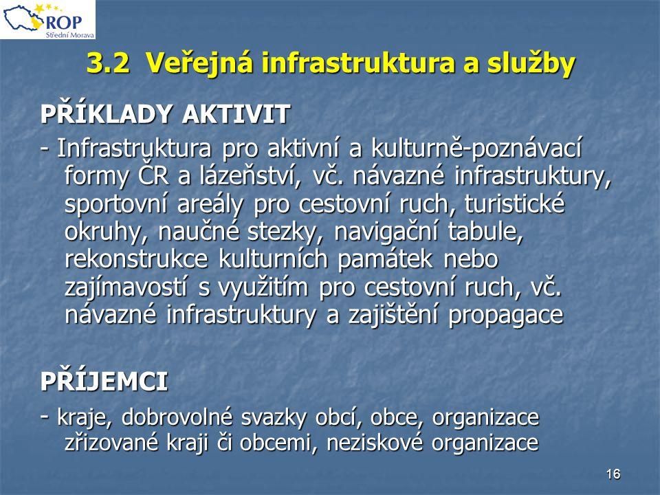 16 3.2 Veřejná infrastruktura a služby PŘÍKLADY AKTIVIT - Infrastruktura pro aktivní a kulturně-poznávací formy ČR a lázeňství, vč. návazné infrastruk