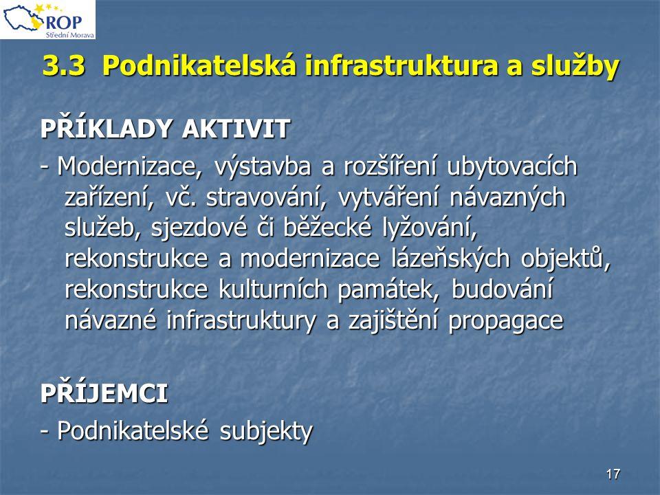 17 3.3 Podnikatelská infrastruktura a služby PŘÍKLADY AKTIVIT - Modernizace, výstavba a rozšíření ubytovacích zařízení, vč. stravování, vytváření náva