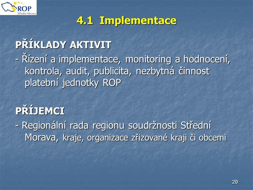 20 4.1 Implementace PŘÍKLADY AKTIVIT - Řízení a implementace, monitoring a hodnocení, kontrola, audit, publicita, nezbytná činnost platební jednotky R