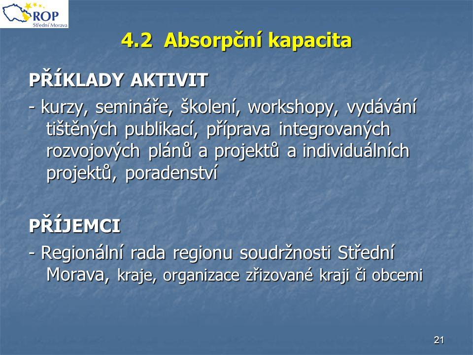 21 4.2 Absorpční kapacita PŘÍKLADY AKTIVIT - kurzy, semináře, školení, workshopy, vydávání tištěných publikací, příprava integrovaných rozvojových plá
