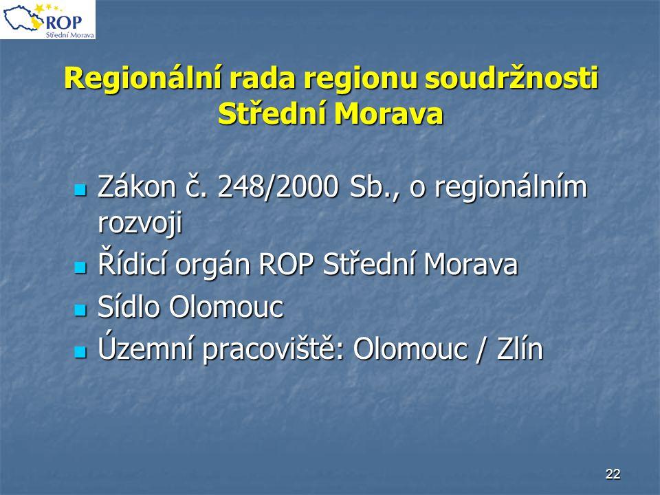 22 Regionální rada regionu soudržnosti Střední Morava Zákon č. 248/2000 Sb., o regionálním rozvoji Zákon č. 248/2000 Sb., o regionálním rozvoji Řídicí