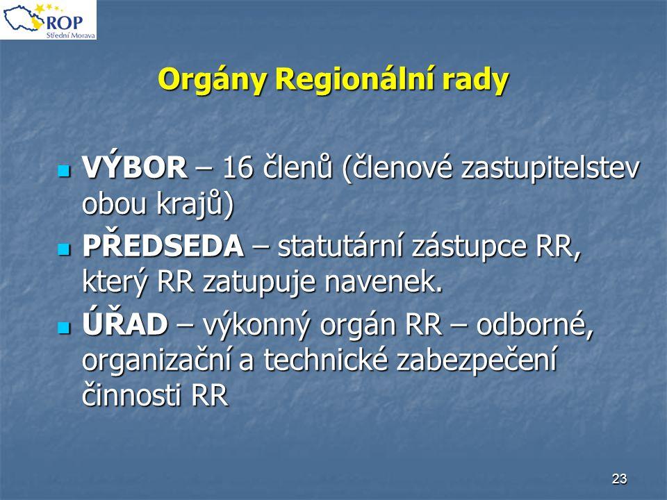 23 Orgány Regionální rady VÝBOR – 16 členů (členové zastupitelstev obou krajů) VÝBOR – 16 členů (členové zastupitelstev obou krajů) PŘEDSEDA – statutá