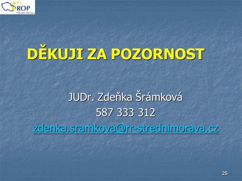 25 DĚKUJI ZA POZORNOST JUDr. Zdeňka Šrámková 587 333 312 zdenka.sramkova@rr-strednimorava.cz