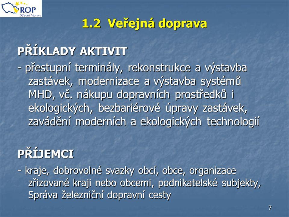 7 1.2 Veřejná doprava PŘÍKLADY AKTIVIT - přestupní terminály, rekonstrukce a výstavba zastávek, modernizace a výstavba systémů MHD, vč. nákupu dopravn