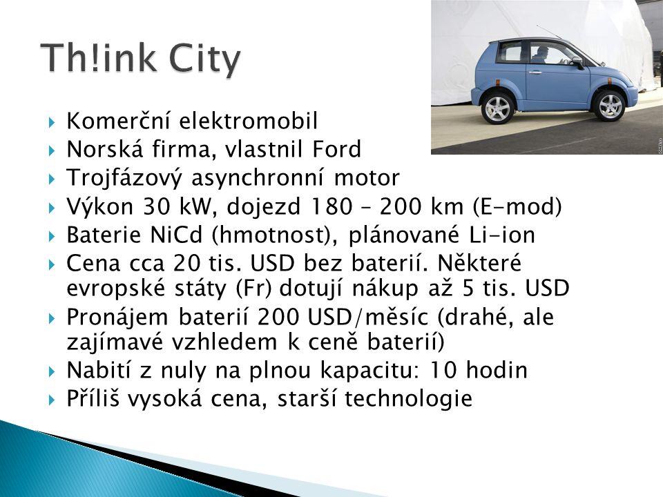  Komerční elektromobil  Norská firma, vlastnil Ford  Trojfázový asynchronní motor  Výkon 30 kW, dojezd 180 – 200 km (E-mod)  Baterie NiCd (hmotno