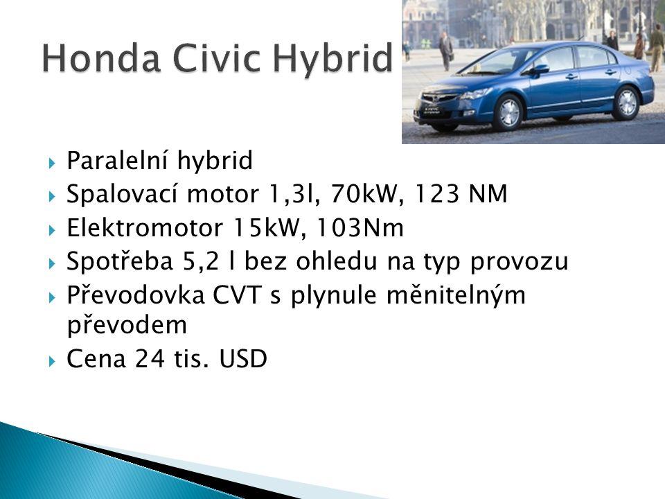  Paralelní hybrid  Spalovací motor 1,3l, 70kW, 123 NM  Elektromotor 15kW, 103Nm  Spotřeba 5,2 l bez ohledu na typ provozu  Převodovka CVT s plynu