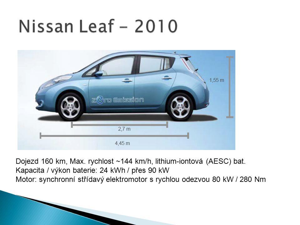 Dojezd 160 km, Max. rychlost ~144 km/h, lithium-iontová (AESC) bat. Kapacita / výkon baterie: 24 kWh / přes 90 kW Motor: synchronní střídavý elektromo