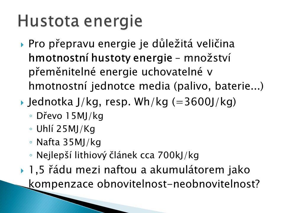  Pro přepravu energie je důležitá veličina hmotnostní hustoty energie – množství přeměnitelné energie uchovatelné v hmotnostní jednotce media (palivo