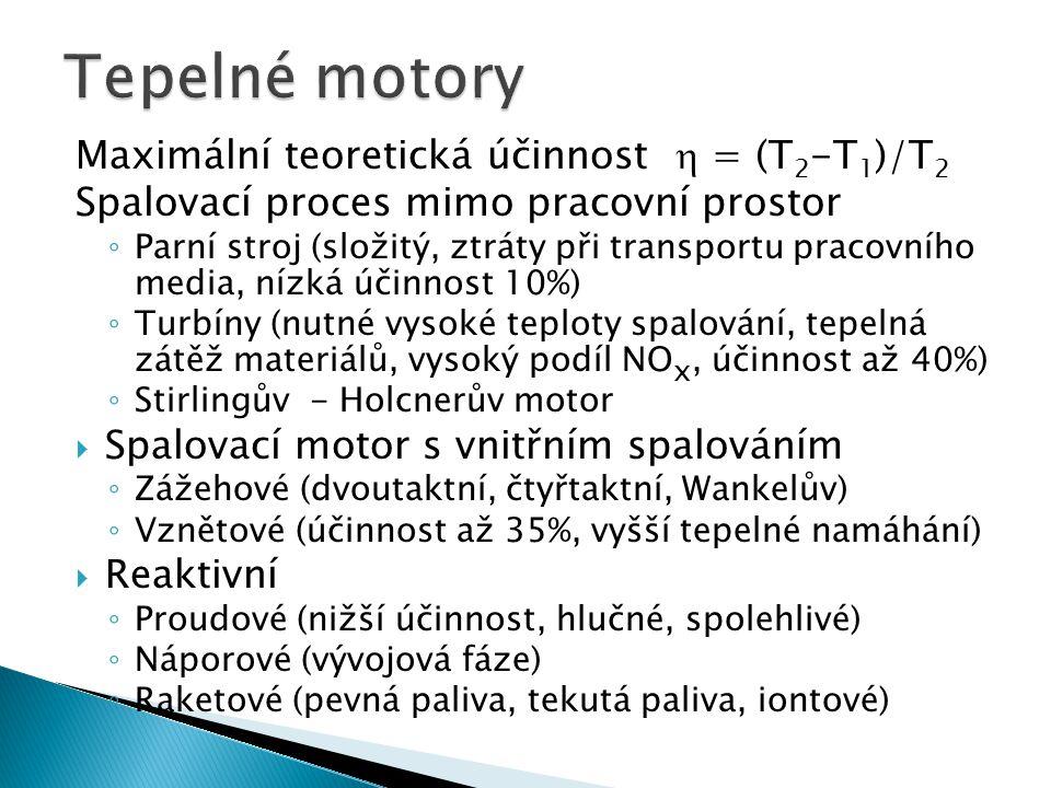 Maximální teoretická účinnost  = (T 2 -T 1 )/T 2 Spalovací proces mimo pracovní prostor ◦ Parní stroj (složitý, ztráty při transportu pracovního medi