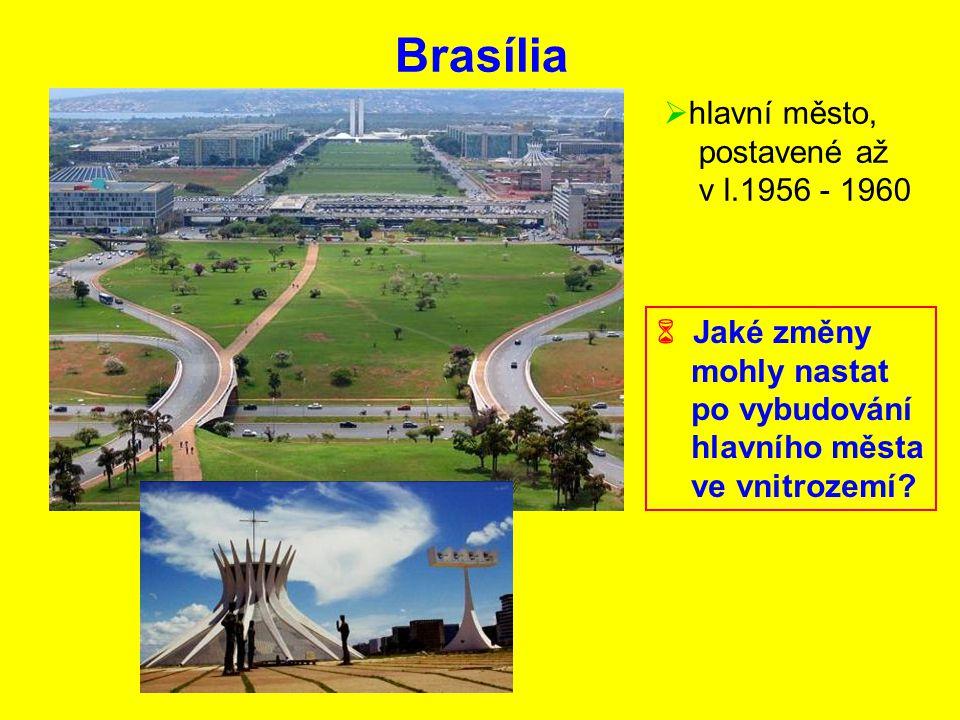 Brasília  hlavní město, postavené až v l.1956 - 1960  Jaké změny mohly nastat po vybudování hlavního města ve vnitrozemí?