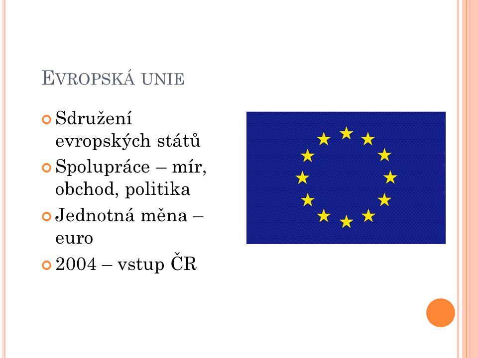 E VROPSKÁ UNIE Sdružení evropských států Spolupráce – mír, obchod, politika Jednotná měna – euro 2004 – vstup ČR