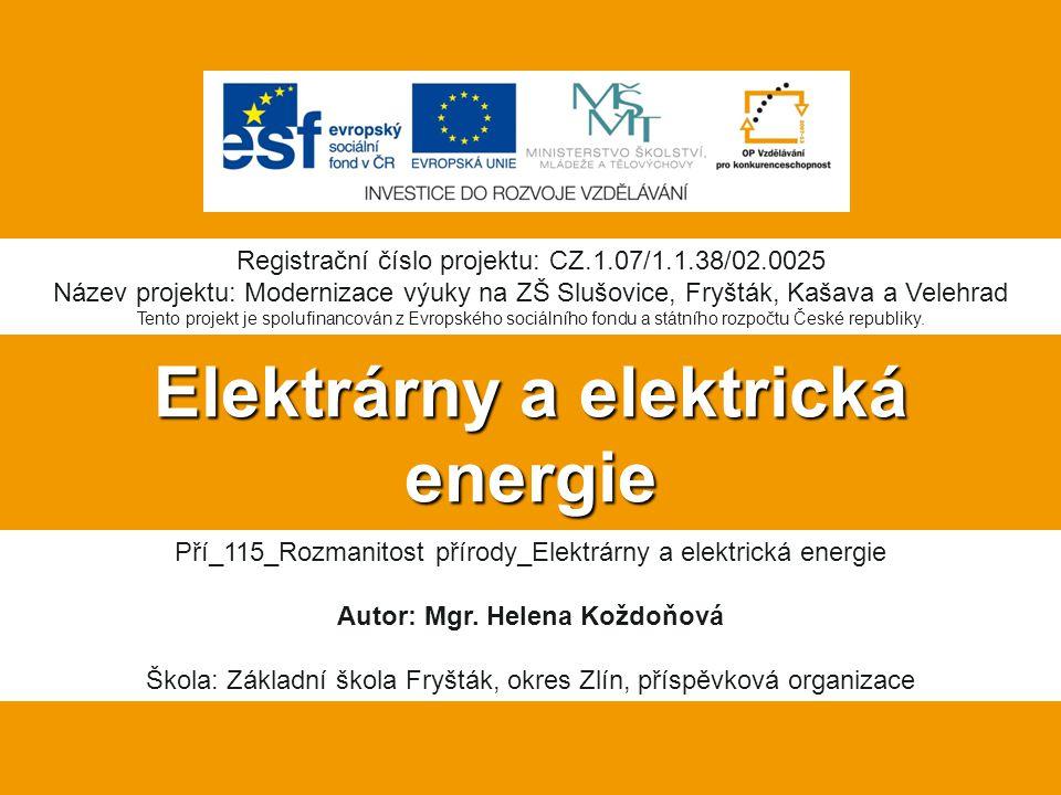 Elektrárny a elektrická energie Pří_115_Rozmanitost přírody_Elektrárny a elektrická energie Autor: Mgr.