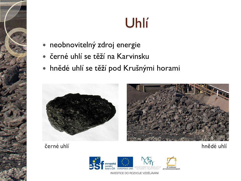 Uhlí neobnovitelný zdroj energie černé uhlí se těží na Karvinsku hnědé uhlí se těží pod Krušnými horami černé uhlíhnědé uhlí