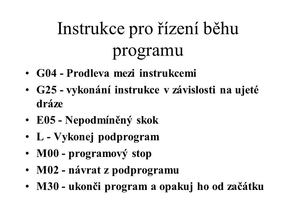 Instrukce pro řízení běhu programu G04 - Prodleva mezi instrukcemi G25 - vykonání instrukce v závislosti na ujeté dráze E05 - Nepodmíněný skok L - Vykonej podprogram M00 - programový stop M02 - návrat z podprogramu M30 - ukonči program a opakuj ho od začátku