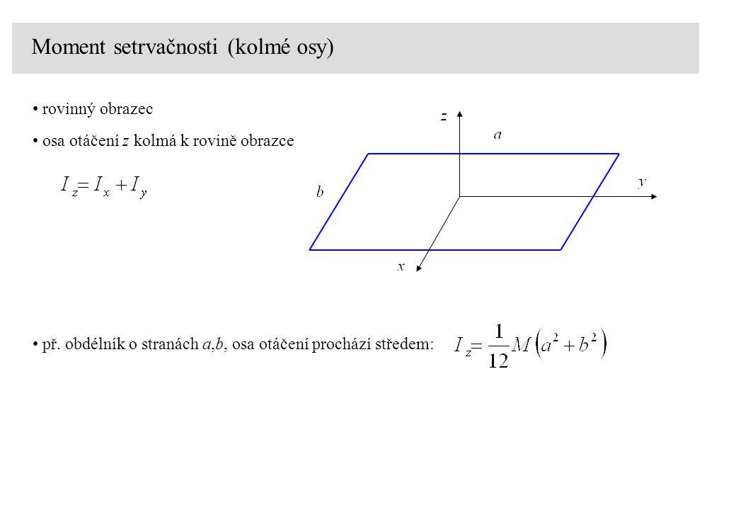 Moment setrvačnosti (kolmé osy) rovinný obrazec osa otáčení z kolmá k rovině obrazce př. obdélník o stranách a,b, osa otáčení prochází středem: