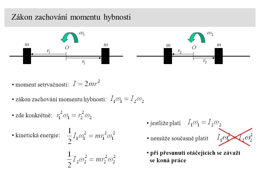 Zákon zachování momentu hybnosti moment setrvačnosti: zákon zachování momentu hybnosti: zde konkrétně: kinetická energie: jestliže platí nemůže součas