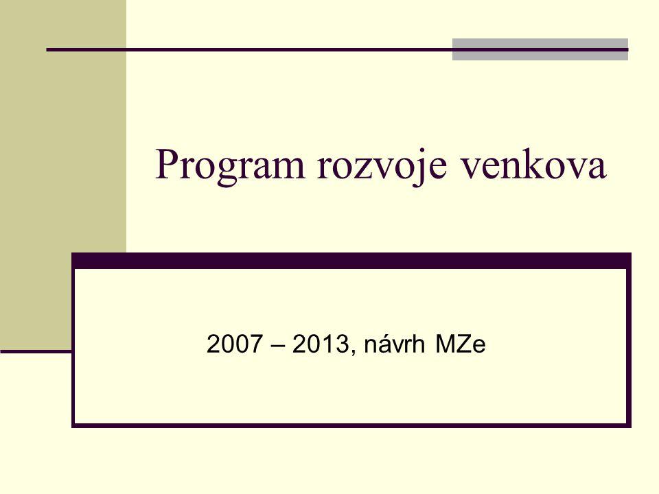 Program rozvoje venkova 2007 – 2013, návrh MZe