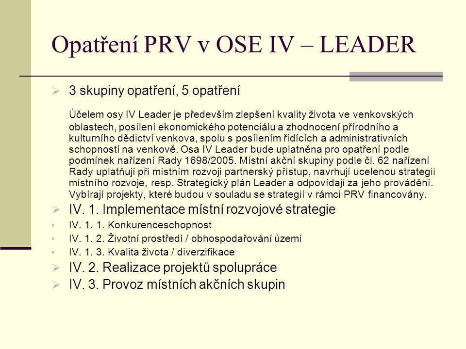 Opatření PRV v OSE IV – LEADER  3 skupiny opatření, 5 opatření Účelem osy IV Leader je především zlepšení kvality života ve venkovských oblastech, posílení ekonomického potenciálu a zhodnocení přírodního a kulturního dědictví venkova, spolu s posílením řídících a administrativních schopností na venkově.