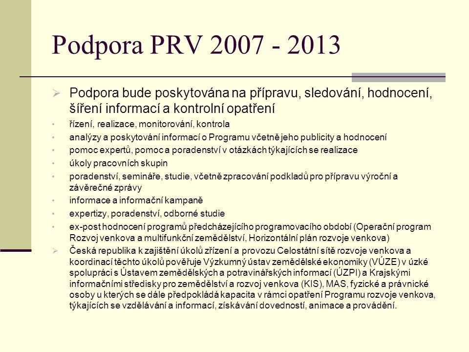 Podpora PRV 2007 - 2013  Podpora bude poskytována na přípravu, sledování, hodnocení, šíření informací a kontrolní opatření řízení, realizace, monitor