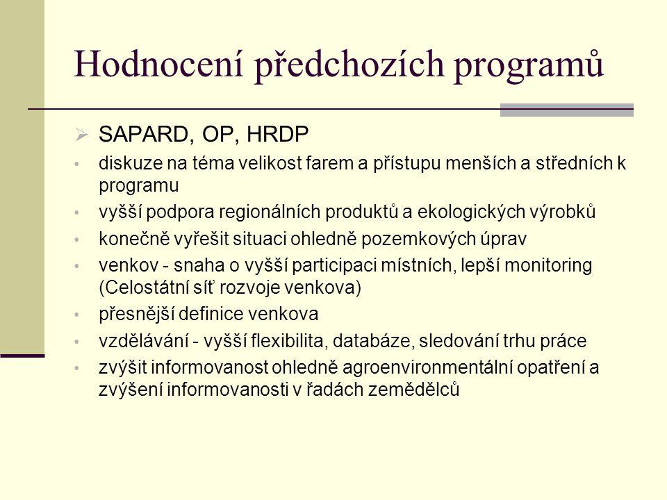 Hodnocení předchozích programů  SAPARD, OP, HRDP diskuze na téma velikost farem a přístupu menších a středních k programu vyšší podpora regionálních