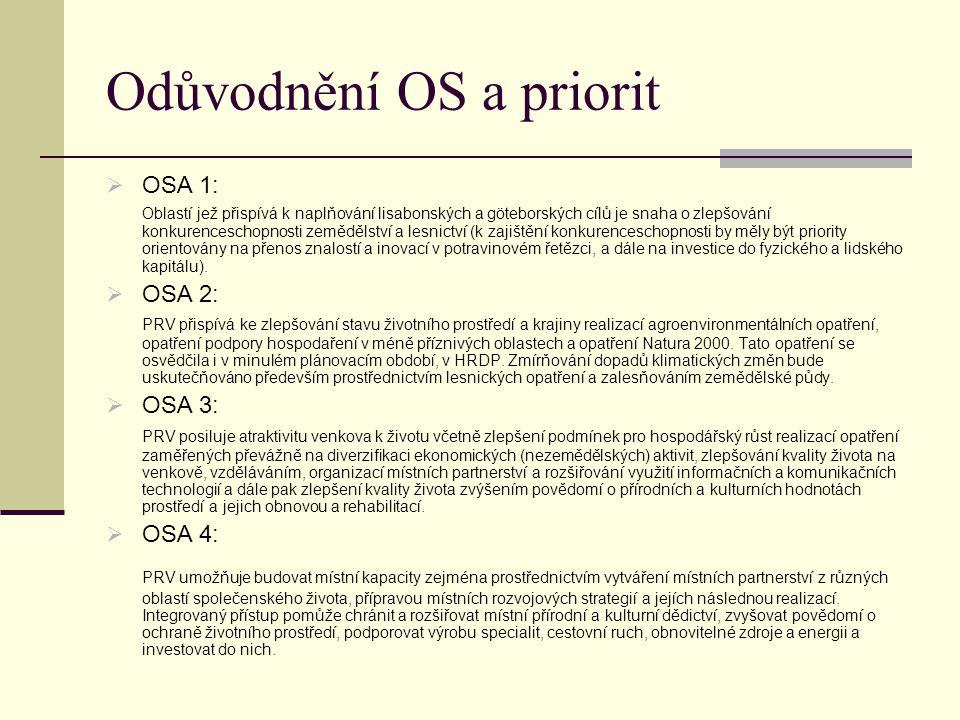 Odůvodnění OS a priorit  OSA 1: Oblastí jež přispívá k naplňování lisabonských a göteborských cílů je snaha o zlepšování konkurenceschopnosti zeměděl