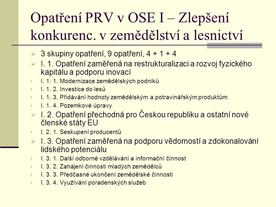 Opatření PRV v OSE I – Zlepšení konkurenc. v zemědělství a lesnictví  3 skupiny opatření, 9 opatření, 4 + 1 + 4  I. 1. Opatření zaměřená na restrukt
