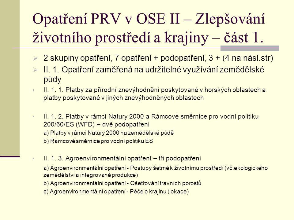 Opatření PRV v OSE II – Zlepšování životního prostředí a krajiny – část 1.  2 skupiny opatření, 7 opatření + podopatření, 3 + (4 na násl.str)  II. 1