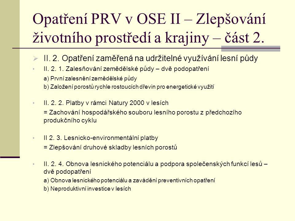 Opatření PRV v OSE II – Zlepšování životního prostředí a krajiny – část 2.  II. 2. Opatření zaměřená na udržitelné využívání lesní půdy II. 2. 1. Zal