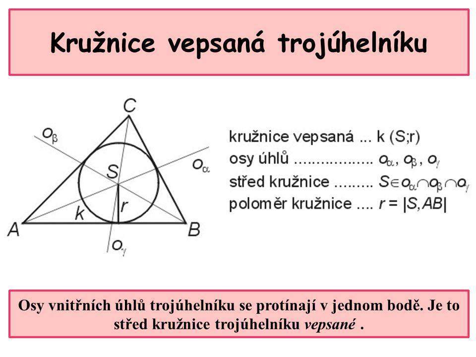 Kružnice vepsaná trojúhelníku Osy vnitřních úhlů trojúhelníku se protínají v jednom bodě.