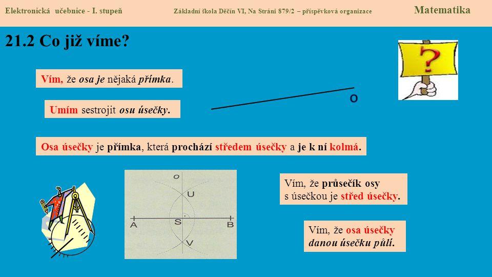 Elektronická učebnice - I. stupeň Základní škola Děčín VI, Na Stráni 879/2 – příspěvková organizace Matematika Vím, že průsečík osy s úsečkou je střed