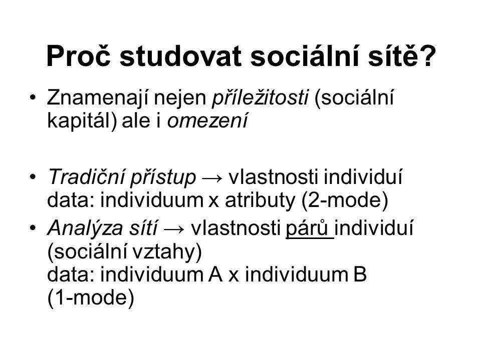 Proč studovat sociální sítě? Znamenají nejen příležitosti (sociální kapitál) ale i omezení Tradiční přístup → vlastnosti individuí data: individuum x