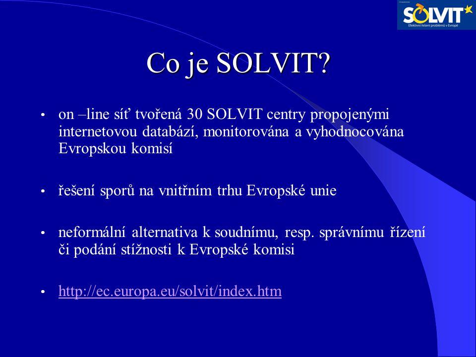 Co je SOLVIT? on –line síť tvořená 30 SOLVIT centry propojenými internetovou databází, monitorována a vyhodnocována Evropskou komisí řešení sporů na v