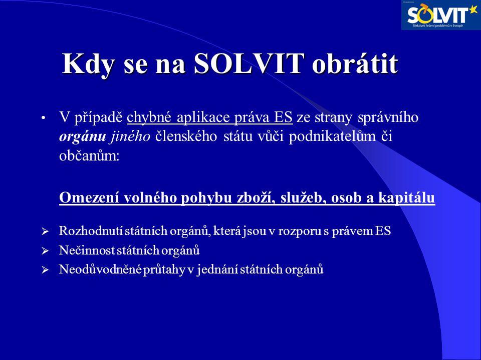 Kdy se na SOLVIT obrátit Kdy se na SOLVIT obrátit V případě chybné aplikace práva ES ze strany správního orgánu jiného členského státu vůči podnikatel