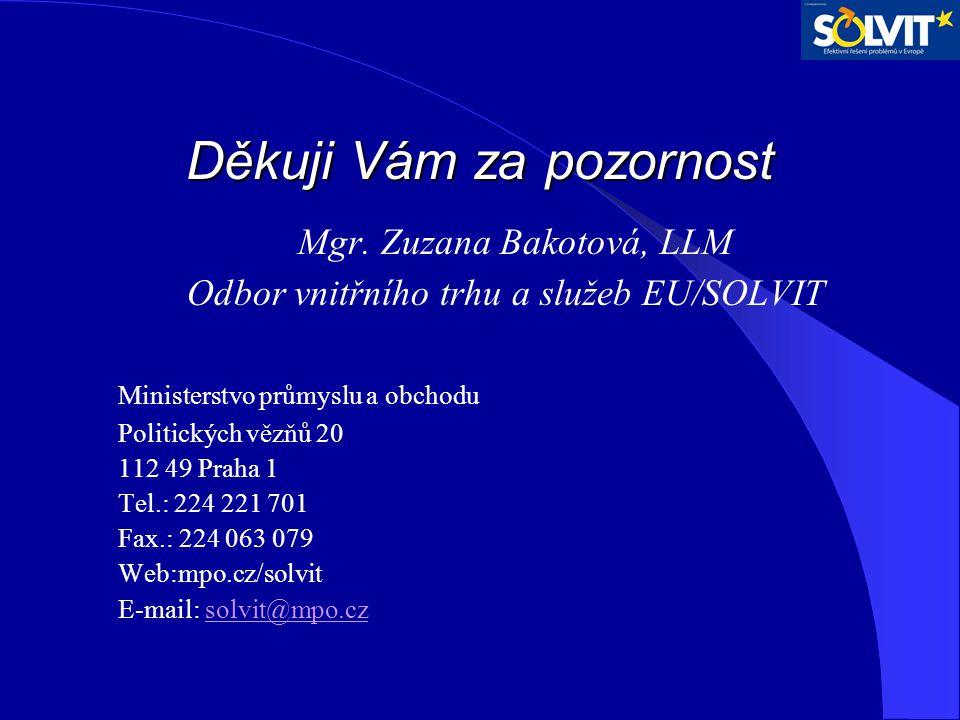 Děkuji Vám za pozornost Mgr. Zuzana Bakotová, LLM Odbor vnitřního trhu a služeb EU/SOLVIT Ministerstvo průmyslu a obchodu Politických vězňů 20 112 49