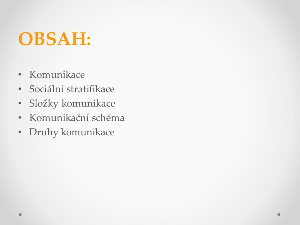 OBSAH: Komunikace Sociální stratifikace Složky komunikace Komunikační schéma Druhy komunikace