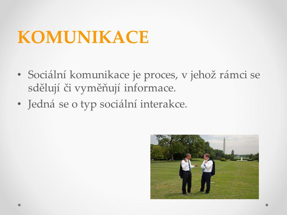 KOMUNIKACE Sociální komunikace je proces, v jehož rámci se sdělují či vyměňují informace. Jedná se o typ sociální interakce.