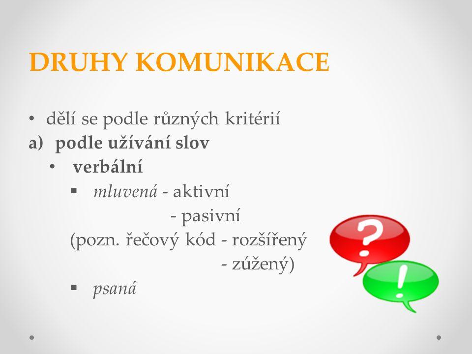 DRUHY KOMUNIKACE dělí se podle různých kritérií a)podle užívání slov verbální  mluvená - aktivní - pasivní (pozn. řečový kód - rozšířený - zúžený) 