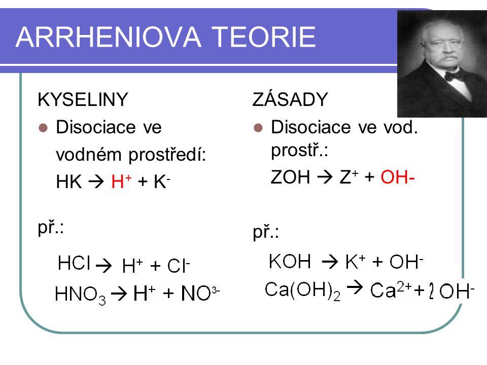 NEUTRALIZACE = reakce kyseliny se zásadou Vzniká sůl ARRHENIOVA TEORIE: zásady uvolňují OH -, kyseliny H + (ve vodě vzniká H 3 O + ) HCl + KOH  NaOH + HNO 3 