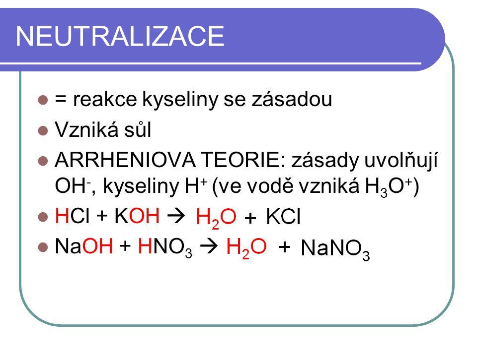 TEORIE BRÖNSTED-LOWRYHO KYSELINA = částice odštěpující proton ZÁSADA = částice vázající proton HCl + H 2 O H 3 O + + Cl - Konjugované páry (donor, akceptor)