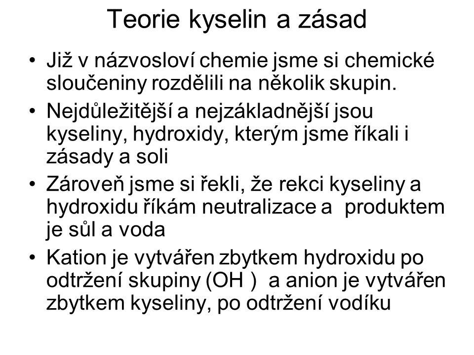 Teorie kyselin a zásad Již v názvosloví chemie jsme si chemické sloučeniny rozdělili na několik skupin. Nejdůležitější a nejzákladnější jsou kyseliny,