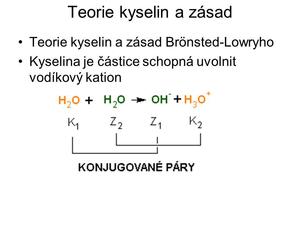 Teorie kyselin a zásad Teorie kyselin a zásad Brönsted-Lowryho Kyselina je částice schopná uvolnit vodíkový kation H 3 PO 4 + H 2 O↔H 2 PO 4 – + H 3 O