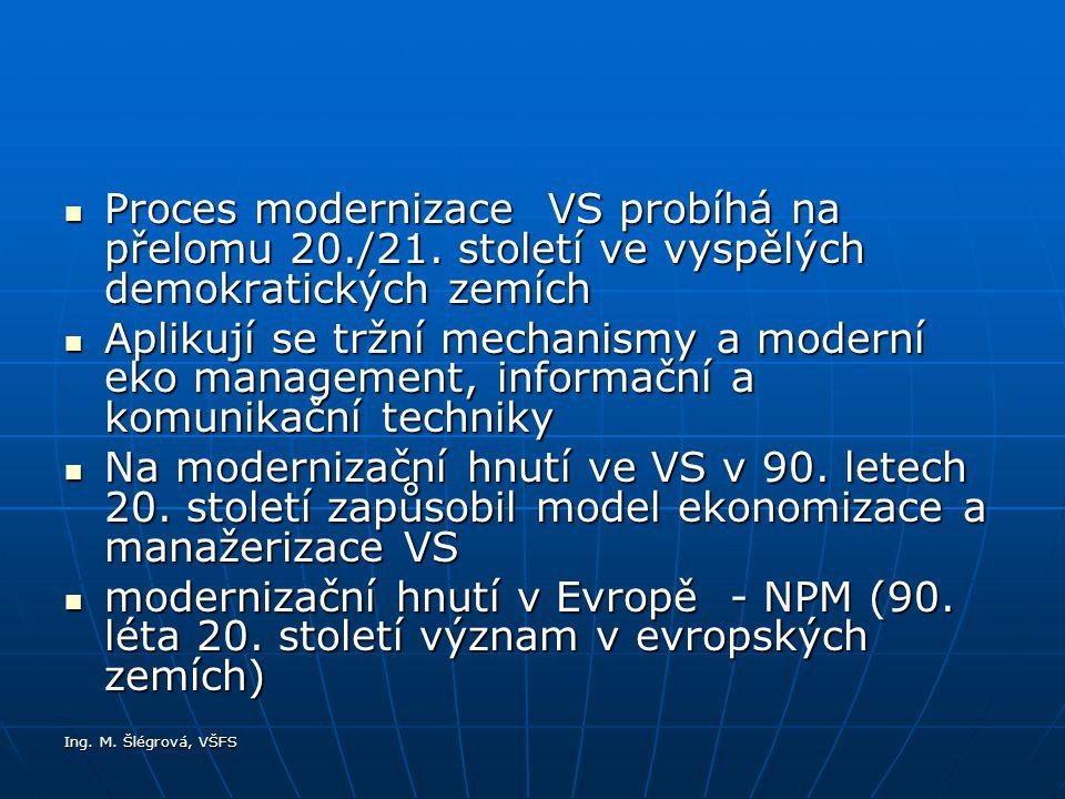 Ing.M. Šlégrová, VŠFS Proces modernizace VS probíhá na přelomu 20./21.