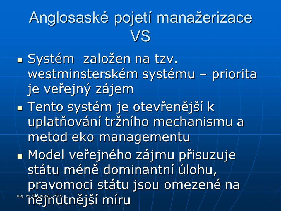 Ing.M. Šlégrová, VŠFS Anglosaské pojetí manažerizace VS Systém založen na tzv.