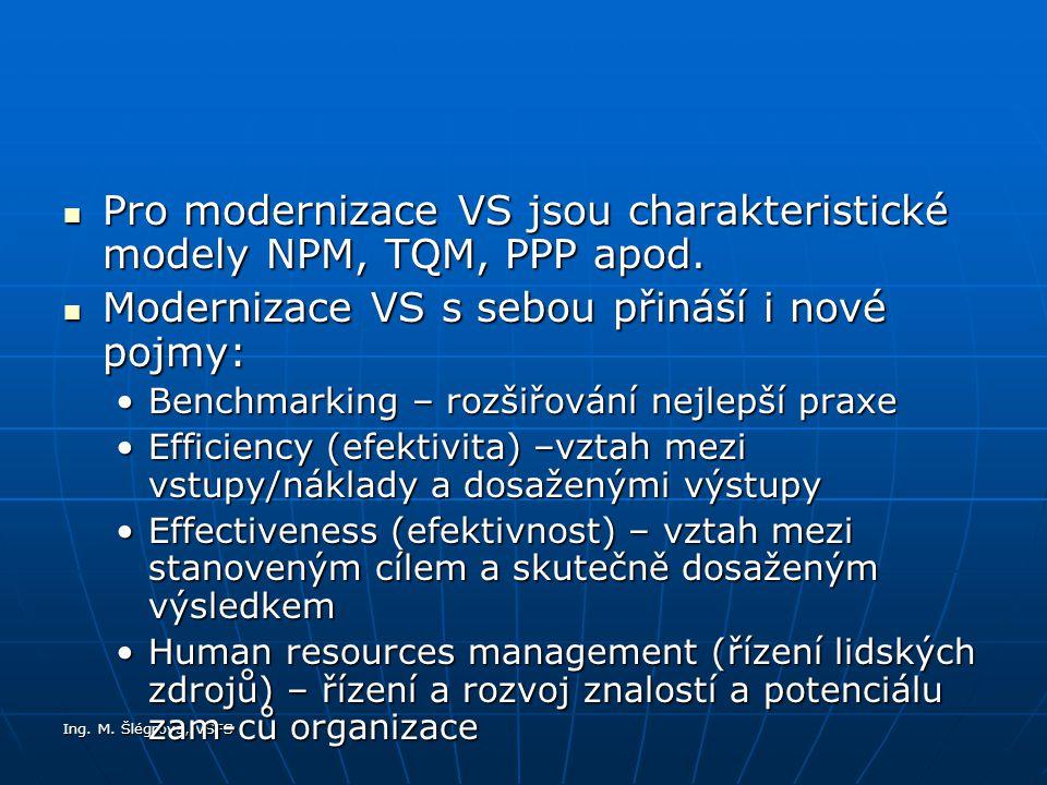 Ing.M. Šlégrová, VŠFS Pro modernizace VS jsou charakteristické modely NPM, TQM, PPP apod.