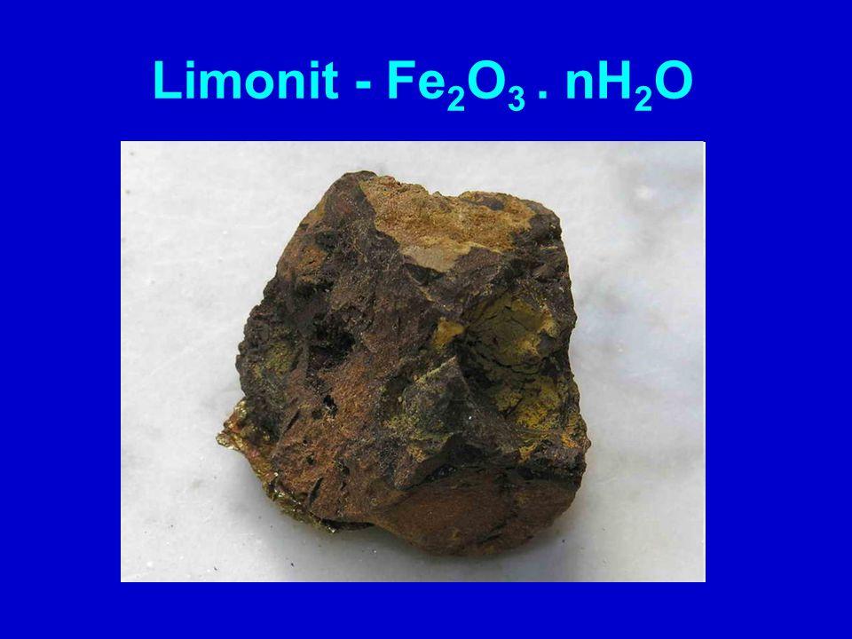 běžný minerál jiný název – hnědel vznik: zvětráváním minerálů železa, srážením z vod barva: hnědá až černá směs minerálů oxidů a hydroxidů Fe amorfní látka