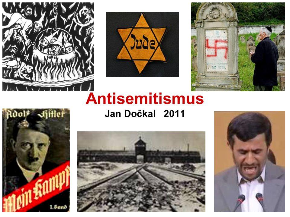 Antisemitismus Zvláštní, specifická, nejstarší forma rasismu Antisemitismus je nepřátelství nebo předpojatost vůči Židům jako představitelům židovského náboženství, etnické skupině nebo rase Trvalá skrytá struktura nepřátelských názorů vůči Židům jako skupině, projevující se jako osobní postoj, v kultuře jako mýty, ideologie, sociální nebo právní diskriminace, politické aktivity a kolektivní či státní násilí proti Židům, jehož výsledkem nebo záměrem je zachování odstupu, vyhnání, nebo zničení Židů jako takových.